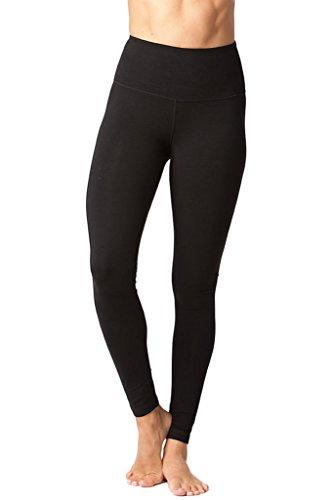 - 90 Degree By Reflex - High Waist Cotton Power Flex Leggings - Tummy Control - Black Small