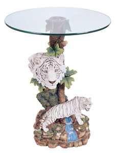 26u0026quot;h Precious White Tiger Theme Table