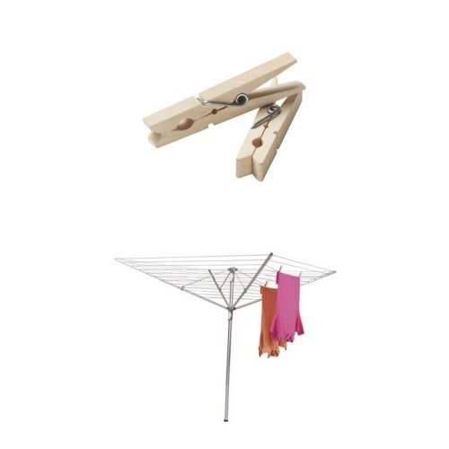 Household Essentials Height Adjustable Outdoor Umbrella Drying Rack Bundle | Aluminum | Includes 96 ct Clothespins