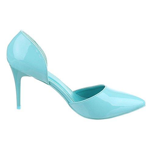 Design Pfennig High Heels Ital Geschlossen Pumps Stilettoabsatz High Schuhe Heel Damen Hellblau dTHTqw