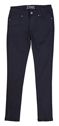 Girls Cotton Pants Straight Leg Flared Bottom Solid Casual School Uniform Trouser (Navy - 2, 4) by Unique Styles