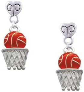 Basketball - Over Hoop Scroll Heart Earrings