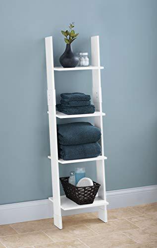 Zenna Home Ladder Style Bathroom Linen Tower, White (For Towels Ladder Bathroom)