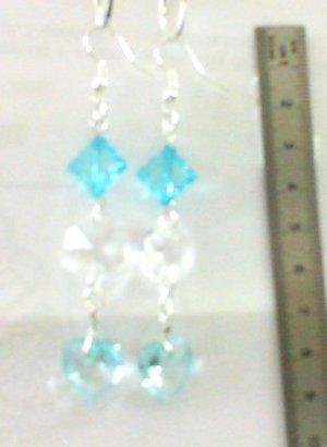 1 paire Boucles d'oreilles pendantes perles couleurs bleues, cristal, Accessoires argentés