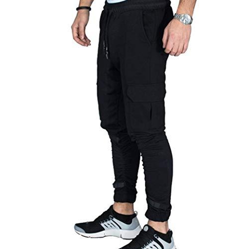 Hattfart Camouflage Jogger Pants for Men Casual Cotton Military Army Cargo Sweatpants Active Elastic Pants (Black, XXXL) by Hattfart (Image #2)