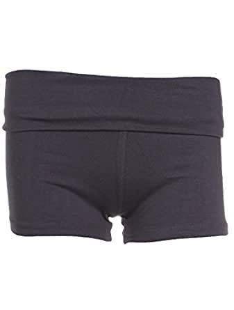 Active Basic Womens Fold Over Low Rise Yoga Exercise Shorts - Gray Small