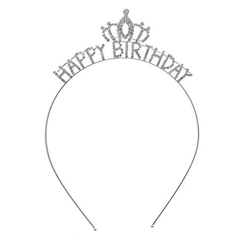 Rosemarie Collections Women's Happy Birthday Rhinestone Tiara Headband Crown