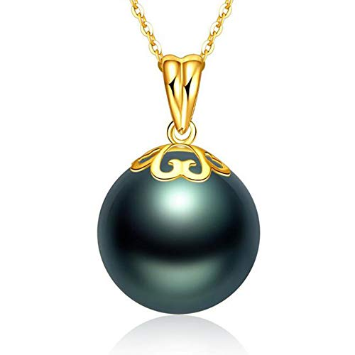 Fashion Jewelry@ 12-13mm Genuine Black Tahitian South Sea Cultured Pearl 18K Yellow Gold Pendant Necklace for Women (45cm 925 Sterling Silver Chains)