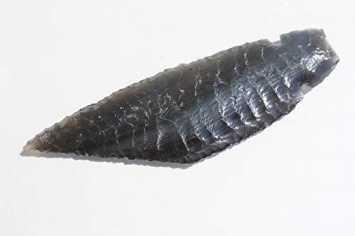 "4.5"" Long Knife Curved Fantasy Blade Knapped From Davis Creek Rainbow Obsidian Flint Knapped/Knapping Pressure Flaked Domed Knife Blade Dagger Gem Point Great D.I.Y. Knife Project"