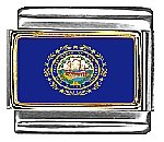 New Hampshire State Flag Italian Charm Bracelet Link ()