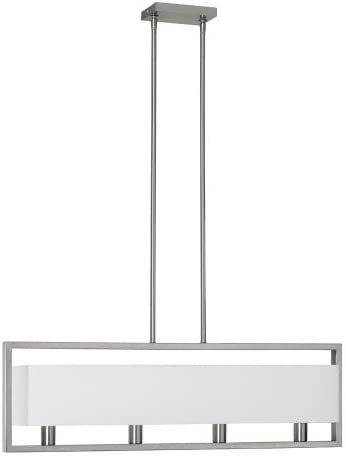 Dainolite Lighting LAR-323-SC Pendants with White Linen Shades, Satin Chrome Finish