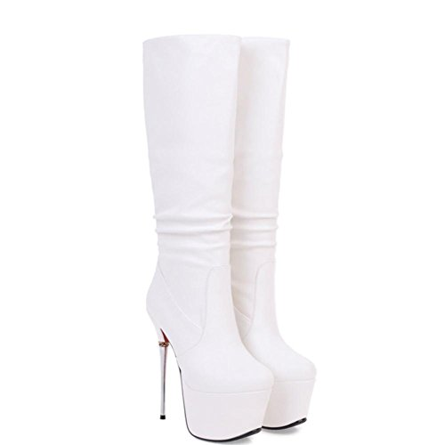 Round 4U Boots Women's Winter White Dress Fashion Shoes Heel Knee Boots Novelty amp; Toe Velvet Best Party For Boots Ruffles High Stiletto Evening Fall d7q5Wzdw