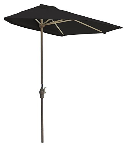 (Blue Star Group Off-The-Wall Brella Sunbrella Half Umbrella, 7.5'-Width, Black)