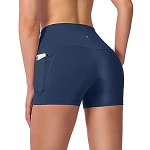 Women's High Waist Yoga Shorts with Side Pockets Tummy Control Running Gym Workout Biker Shorts for Women 8″ /3″
