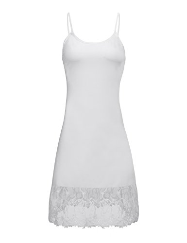 Finejo Women's Adjustable Spaghetti Strap Chiffon Ruffle Camisole Dress Extender White S ()