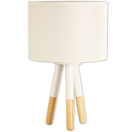 Light Accents Table Lamp Stockholm Scandinavian-Style Wood and Metal Lamp with Fabric Shade (White) 31AGc28t rL