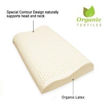 100% Organic Latex Contour Neck Pillow (Standard Low Loft)
