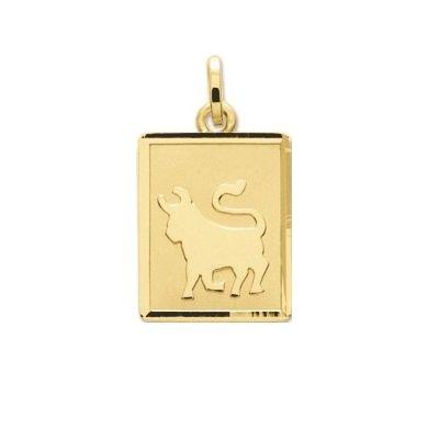 TAUREAU - Médaille Zodiaque - Or 18 carat - Hauteur: 14 mm - Largeur: 12 mm - www.diamants-perles.com