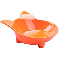 MushroomCat Cat Shape Non-Slip Melamine Bowl 7 Ounces (Orange)