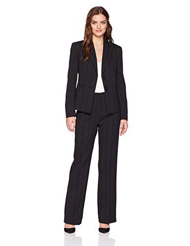Le Suit Women's Tonal Stripe 2 Bttn Notch Lapel Pant Suit, Black, 6