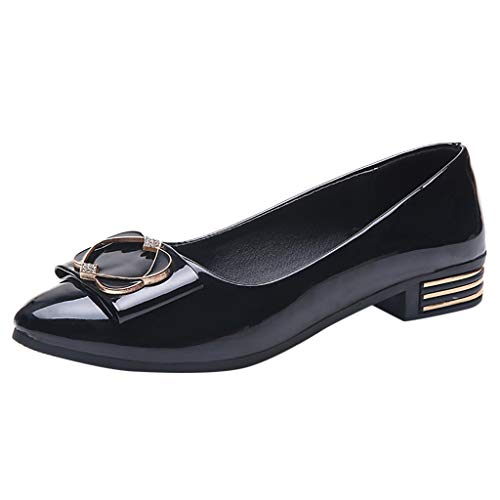 (Nadition Fashion Low Heel Pump ❤️️ Fashion Women Patent Leather Pumps Casual Single Shoes Flat Wedding Office Shoes Black)