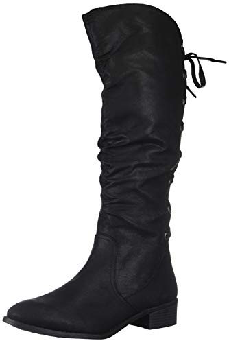 Rampage Women's Insola Lace-up Knee High Boot, Black Fabric, 7 M US ()
