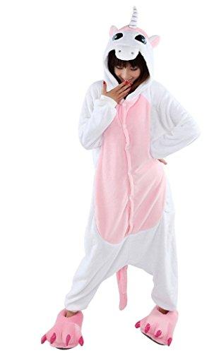 WOWcosply Pink Unicorn Cartoon Animal Pajamas Cosplay Anime Costume Adult,M