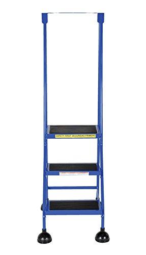 Vestil LAD-3-B Steel Spring Loaded Roll Ladder, 16'' Wide x 11'' Depth, 300 lb. Capacity, 3 Rubber Steps, Blue by Vestil (Image #2)