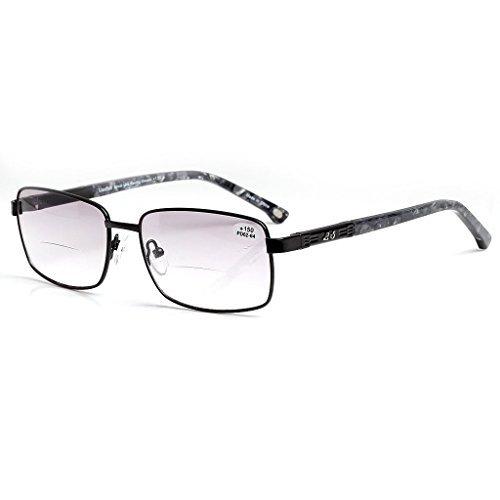 LianSan Bifocal Designer Oversized Reading Glasses for Men Metal Women's Readers 1.0 1.5 2 00 2.50 3.0 3.5 7008 Black - Cartier Mens Sale Glasses
