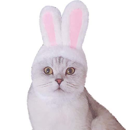 LIFLWO_hairband Funny Costume Accessory Kawaii Dog Pet Bunny Rabbit Ears Neck Ear Warmer Headband Hat for Cat Small Dogs Kitten Party