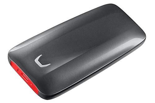 Samsung X5 Portable SSD - 1TB - Thunderbolt 3 External SSD (MU-PB1T0B/AM) Gray/Red