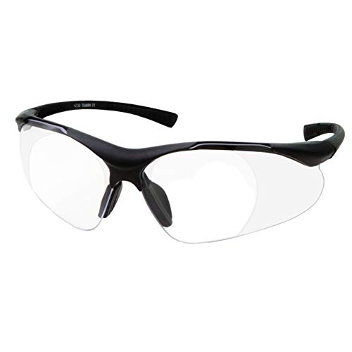Full Lens Magnification Safety Glasses with Black Frame | Clear Lens | | Magnifying Reading Eyewear (+2.50 ()