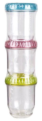 ArtBin Twisterz Jar-3 Pack Small/Tall, Multi Colored lids, 6941AD, Clear, 3 Piece