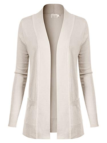 Design by Olivia Women's Open Front Long Sleeve Classic Knit Cardigan Ivory XL