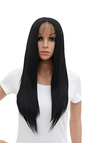 SWACC Long Straight Black Lace Front Wigs for Women with Baby Hair Middle Part Glueless Natural Straight Heat Resistant…