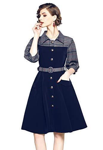 omen's V Neck Business Striped/Gingham/Solid Work A line Midi Dress ()