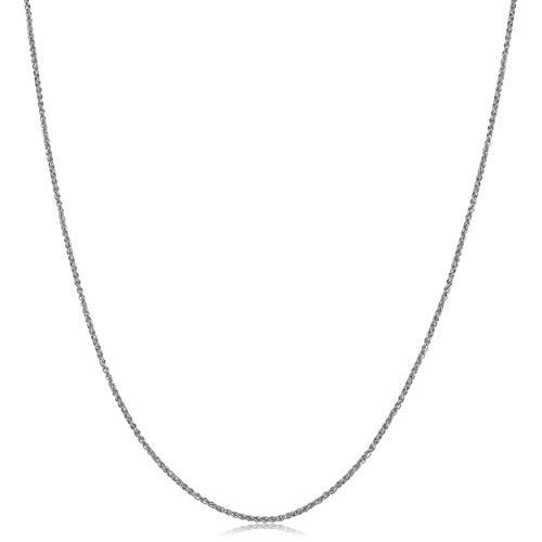 Kooljewelry 10k White Gold Round Wheat Chain Necklace (1 mm, 18 inch)