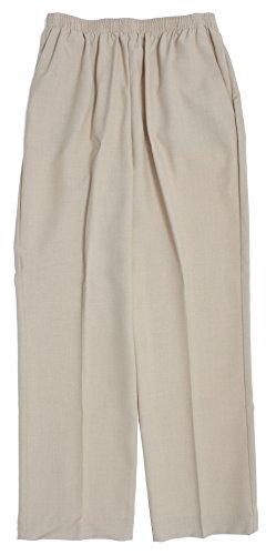 Alfred Dunner Classics Woven Elastic Waist Pants Flax 16W M