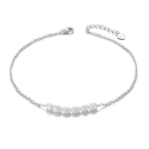 Freshwater Cultured Pearl Anklet Dainty Boho Beach Cute Ankle Bracelet Adjustable Bead Anklet for Women Girls, 9+1