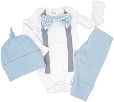 Cute Newborn Baby Boy Clothes. Baby Blue Coming Home Outfit (Newborn Long Sleeve)