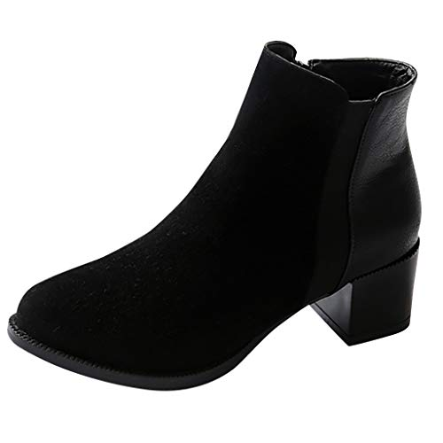 1460 Smooth Combat Boot,Londony Women's Round Toe Zipper Ankle Boots Ladies Leather Combat Booties Fashion Boots Black ()