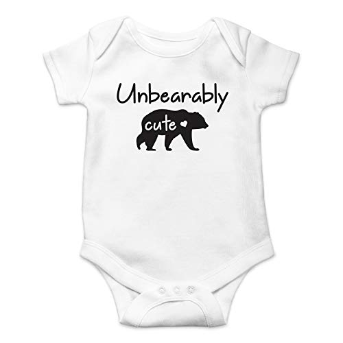 Unbearably Cute Funny Baby Bear Pun - Animal Lover Cute Joke -Baby Shower Infant Baby Romper (White, 12 Months) -