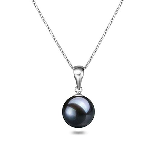 Black Japanese AAAA 8mm Freshwater Cultured Pearl Pendant Necklace 16 Inch Solitaire Necklace Pendant