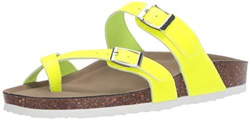 Madden Girl Women's BRYCEEE Slide Sandal, Yellow neon, 8 M US