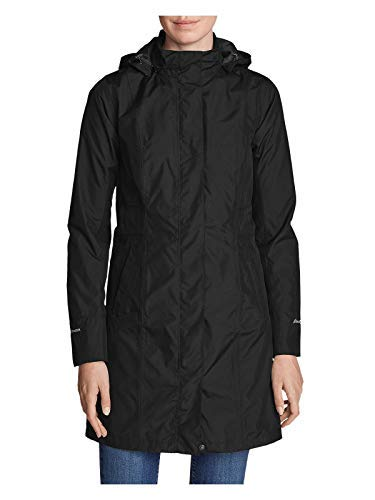 Eddie Bauer Women's Girl on The Go Trench Coat, Black Regular L Regular