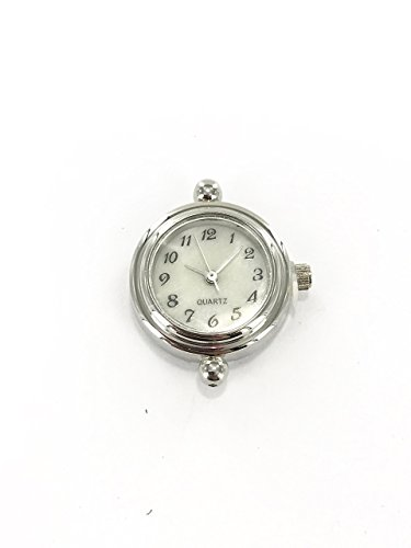 Linpeng Women Round Watch Head Silver Color Decorative 2cm Japanese Movement Quartz DIY Jewelry For Beading (Watch 2 Hole Face Beads)