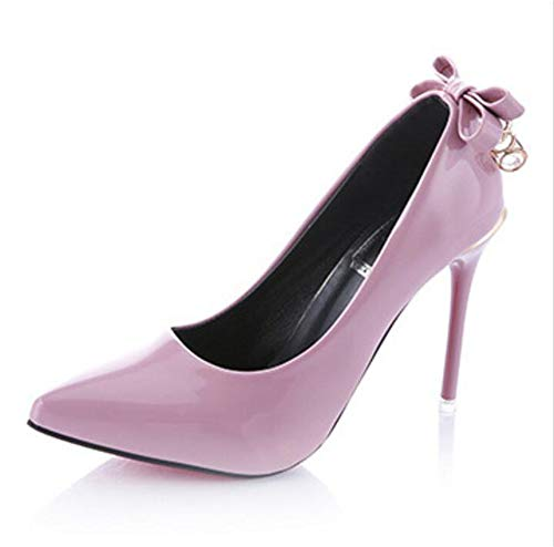 Quality.A New Stiletto Heels Sweet Bow Pointed Shoes Elegant Version of Shallow Shoes(Pink Lable 37/6.5 B(M) US Women) -