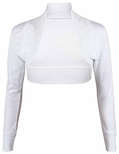 En 100 Cardigan Sequin Bolero Perles Coton Taille Longues Et B65 Clothing Blanc Lush Boléro Manches EaIqZ7