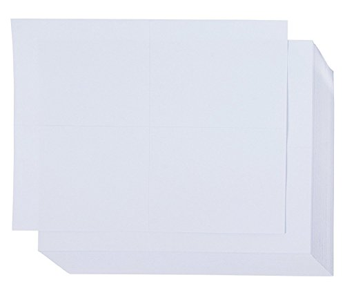 Blank Postcards - 100-Sheet Kraft Paper Postcards, Printable Blank Note Cards for Inkjet and Laser Printers, 4 Per Page 400 Cards in Total, Plain White, Perforated, 4 x 6 Inches