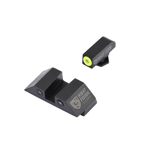 - Night Fision Perfect Dot Night Sight Set, Glock 17/17L/19/22-28/31-35/37-39, Front, Square Rear, Yellow Front with Grn Tritium, Black Rear with Grn Tritium